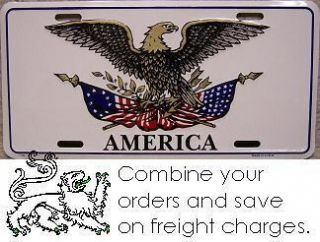 Aluminum License Plate American Eagle Emblem New