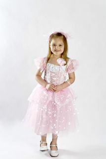 Girls Kids Pretty Pink Princess Costume Light Up Free Wand Headband