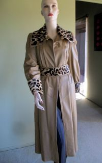 LILLIE RUBIN LEATHER MAXI COAT REAL LEOPARD PRINT FUR SIZE M JITROIS