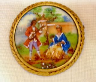 French Limoges Hand Painted Porcelain Pin Brooch C1930