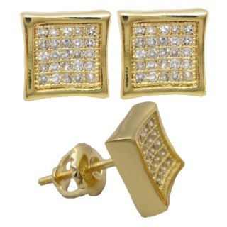 Mens Ladies Yellow Gold Finish Lab Diamond Screw Back Square Earring