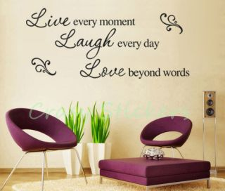 LIVE LAUGH LOVE Quote Wall Vinyl Stickers Art Decal Mural Reusable