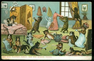 Louis Wain Fluffkin Cat Family Make Summer Frocks Artist Postcard