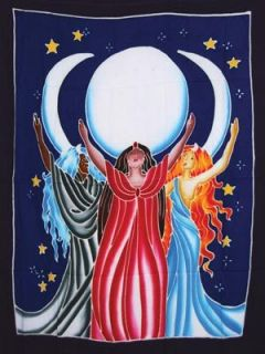 Triple Moon Goddess Banner Sarong Tapestry Celtic Wicca