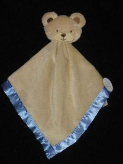 Tan Brown Blue Teddy Bear Security Blanket Baby Lovey Lovie