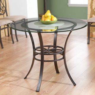 LUCIANNA Dining Table Round w/ Glass Top Metal Base Chairs Available