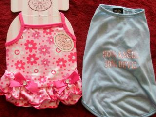 LOT DOG PUPPY PET CLOTHES CUTE LULU PINK DRESS, BLUE SHIRT, FAST