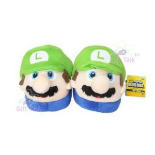 Super Mario Bros Kids Luigi Grn Plush Slipper Slippers