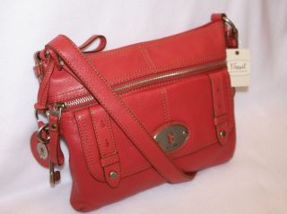 Fossil Maddox Top Zip Leather Shoulder Crossbody Bag Dusty Rose / NWT
