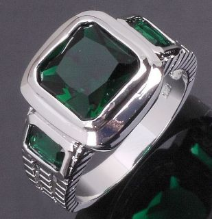 Size 8 9 10 11 Jewelry Mans Green Emerald 10KT White Gold Filled Ring
