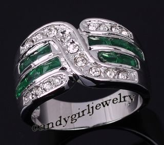 Jewelry Mans Green Emerald 10KT White Gold Filled Ring Size 10 For