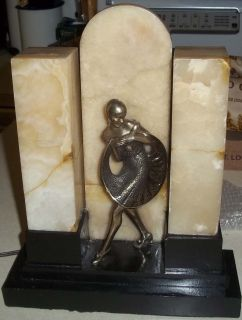 Antique Art Deco Dancing Posing Flapper Marble Table Lamp Cute