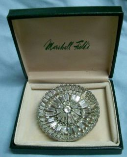 Vintage Marshall Fields Art Deco Round Clear Rhinestone Pin Brooch