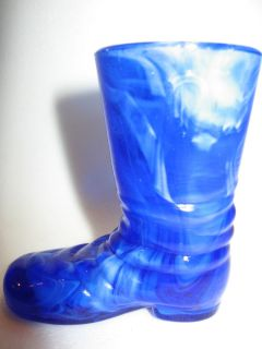 Cobalt blue slag glass Shoe / Slipper Boot christmas high heel texas