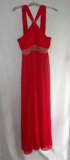 JS Boutique Red Chiffon Beaded Full Length Halter Dress/ Evening Gown