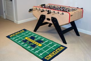 Wolverines Football Field Runner Area Rug Floor Mat 30 x 72
