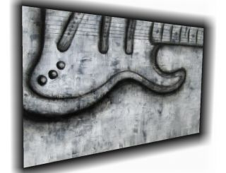 original guitar black white modern abstract painting art music Colleen