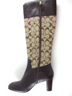 New $298 Sz 6 5 Coach Gail Leather Signature Heels Mid Calf Boots