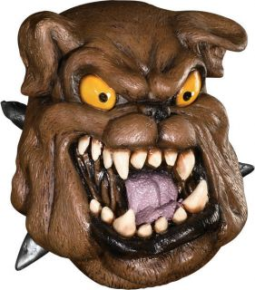 Adult Scary Ferocious Bulldog Latex Mascot Halloween Costume Mask with