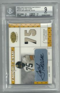 MEAN JOE GREENE AUTOGRAPH GAME USED JERSEY PATCH BGS 9 AUTO 10