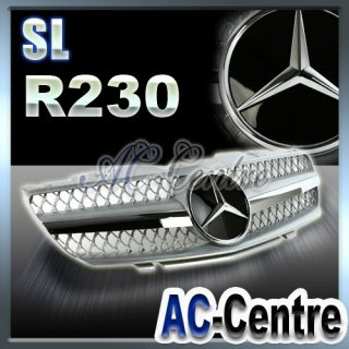 MERCEDES BENZ SL CLASS FRONT GRILL GRILLE R230 SL500 SL600 SILVER 2002