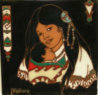 Native Americans 6x6 Earthtones Ceramic Art Tile
