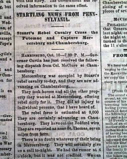 Mercersburg PA 1862 Cincinnati Ohio Civil War Newspaper