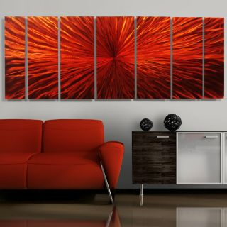 Modern Abstract Metal Wall Art Decor Sculpture Red Painting Intensity