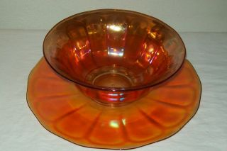 Vintage Merigold Carnival Glass Large Bowl and Matching Under Plate