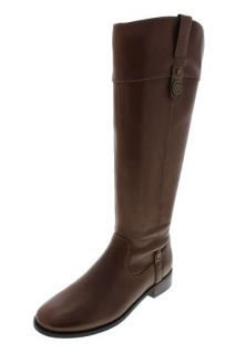 Anne Klein NEW Calantha Brown Leather Embellished Knee High Boots