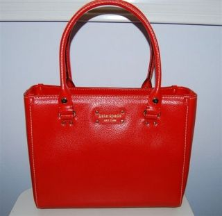 Kate Spade Quinn Wellesley modern red leather purse handbag tote