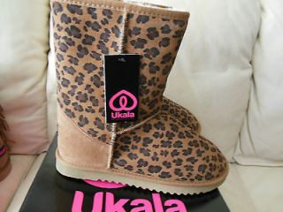 Ukala Ally womens suede cheetah leopard print merino wool lined boots