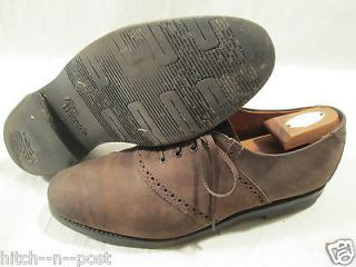 ALLEN EDMONDS MENS SADDLE OXFORD LACE UP BROWN SUEDE SHOE 10 D MEDIUM