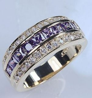 Jewellery Cool Mens 10KT Yellow Gold Filled Amethyst Diamonique Ring