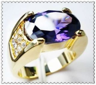 Luxury New Mens 10KT Yellow Gold Filled 12ct Amethyst Ring Size 10/T
