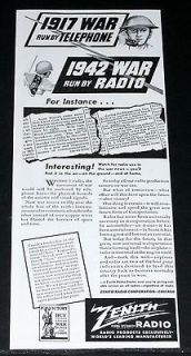 1942 OLD WWII MAGAZINE PRINT AD, ZENITH RUNNING THE WAR BY RADIO