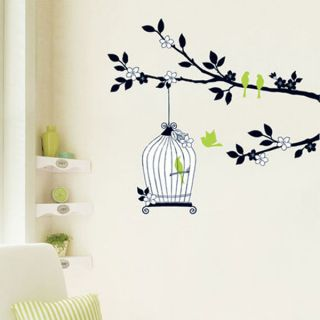 Hanging Birdcage off tree a branch   Removable Wall Stickers Art Decal