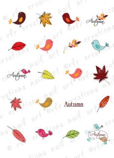 20 AUTUMN DOODLES w/ BIRDS AND LEAVES FALL WATER SLIDE NAIL ART DECALS