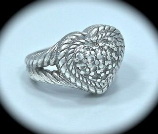 JUDITH RIPKA Sterling Silver DIAMONIQUE PAVE HEART RING SIZE 5
