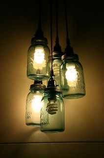 Mason Jar Chandelier Light  Hanging Pendant   Jars not included