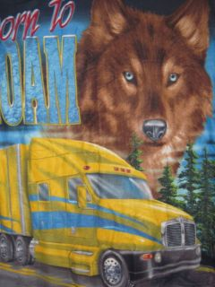 YELLOW SEMI TRUCK WITH WOLF FLEECE BLANKET