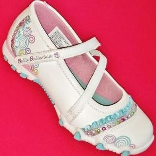 NEW Girls Youth SKECHERS BELLA BALLERINA White Slip On Athletic