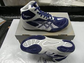 Asics Cael V5.0 GS YOUTH Kids Wrestling Shoes, Navy/Silver C235N 5093