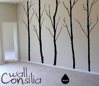 Birch Trees in Winter with Animals Vinyl Wall Art Murals Sticker Decal