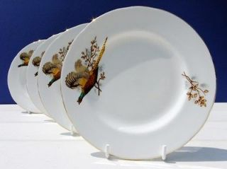 Vintage Royal Burlington Bone China Set 4 Tea Plates Game Bird