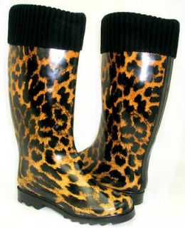FAUX FUR LINED* WARM * Flat Galoshes Wellies Rubber Rain Boot LEOPARD