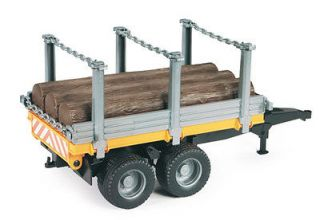 BRUDER 1/16 TIMBER TRAILER WITH 3 TREE TRUNKS PLASTIC TOY REPLICA BNIB
