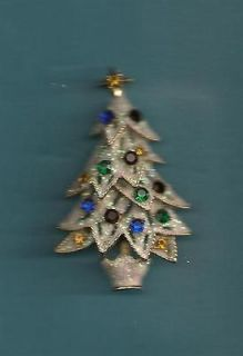 Christmas Tree Pin Brooch Eisenberg Ice Glitter & Rhinestones Brooch