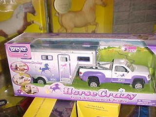 Breyer Stablemate All NEW Horse Crazy Purple Truck & 3 Horse Trailer