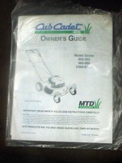 CUB CADET MTD PUSH MOWER OWNERS OPERATORS MANUAL 950 959, 960 969